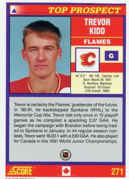 1991-92 Score Canadian English #271 Trevor Kidd Back