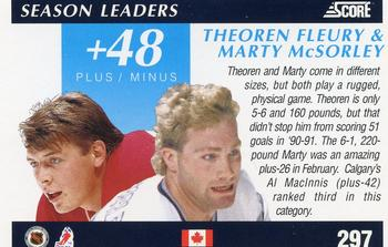 1991-92 Score Canadian English #297 Theo Fleury / Marty McSorley Back