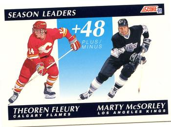 1991-92 Score Canadian English #297 Theo Fleury / Marty McSorley Front