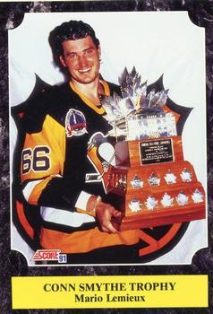 1991-92 Score Canadian English #316 Mario Lemieux (Conn Smythe Trophy) Front