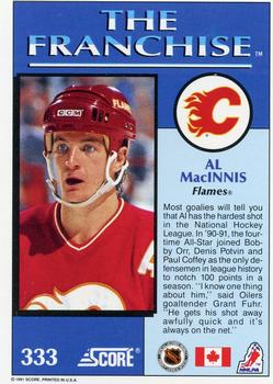 1991-92 Score Canadian English #333 Al MacInnis Back