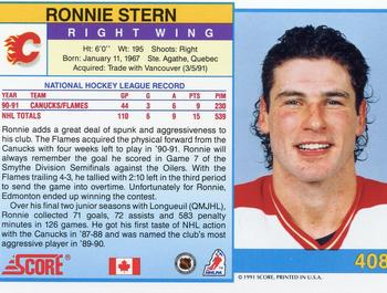 1991-92 Score Canadian English #408 Ronnie Stern Back