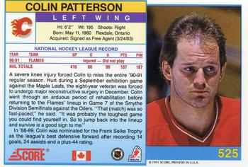 1991-92 Score Canadian English #525 Colin Patterson Back