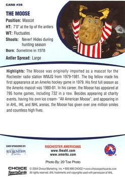 2003-04 Choice Rochester Americans AHL #28 Rochester Americans Mascot Back