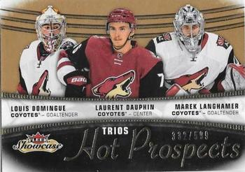 2015-16 Fleer Showcase #115 Louis Domingue / Laurent Dauphin / Marek Langhamer Front