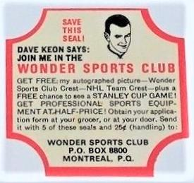 1960-61 Wonder Bread Wrapper #3 Dave Keon Front