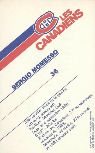 1985-86 Montreal Canadiens Postcards #NNO Sergio Momesso Back