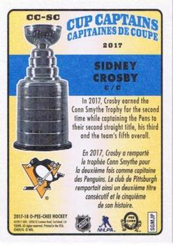 2017-18 O-Pee-Chee - Cup Captains #CC-SC Sidney Crosby Back