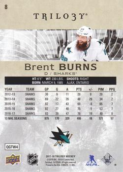 2017-18 Upper Deck Trilogy #8 Brent Burns Back