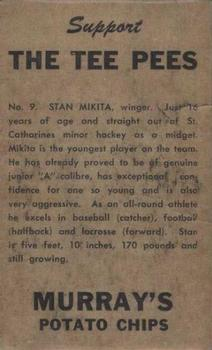 1957-58 Murray's Potato Chips St. Catharines Teepees #8 Stan Mikita Back