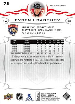 2018-19 Upper Deck #78 Evgenii Dadonov Back