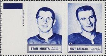 1961-62 Topps - Stamp Pairs #NNO Stan Mikita / Andy Bathgate Front