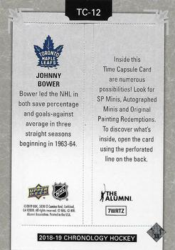 2018-19 Upper Deck Chronology - Time Capsules Rip Cards #TC-12 Johnny Bower Back
