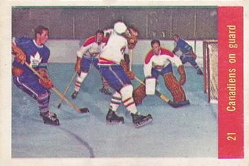 1957-58 Parkhurst #21 Canadiens on Guard Front