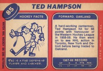 1968-69 Topps #85 Ted Hampson Back