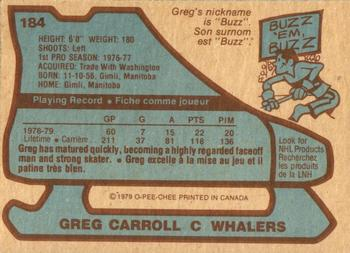 1979-80 O-Pee-Chee #184 Greg Carroll Back