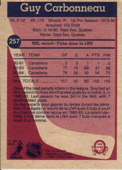 1984-85 O-Pee-Chee #257 Guy Carbonneau Back