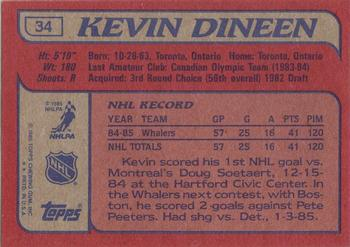 1985-86 Topps #34 Kevin Dineen Back