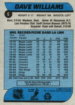 1986-87 O-Pee-Chee #6 Dave Williams Back