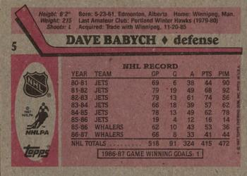 1987-88 Topps #5 Dave Babych Back