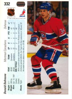 1990-91 Upper Deck #332 Donald Dufresne Back