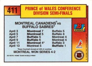 1991-92 Bowman #411 Montreal / Buffalo Playoff Action Back