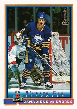 1991-92 Bowman #411 Montreal / Buffalo Playoff Action Front