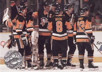 1991-92 Pro Set Platinum #144 Mario Lemieux / Bob Errey / Mark Recchi / Bruce Racine / Randy Hillier Front