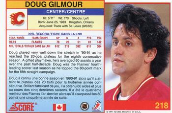 1991-92 Score Canadian Bilingual #218 Doug Gilmour Back