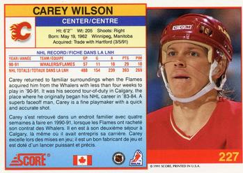 1991-92 Score Canadian Bilingual #227 Carey Wilson Back