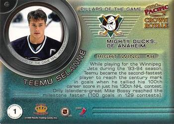 1998-99 Pacific Crown Royale - Pillars of the Game #1 Teemu Selanne Back