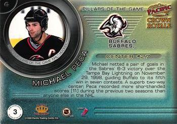 1998-99 Pacific Crown Royale - Pillars of the Game #3 Michael Peca Back