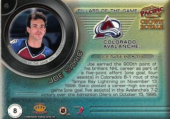 1998-99 Pacific Crown Royale - Pillars of the Game #8 Joe Sakic Back