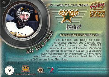 1998-99 Pacific Crown Royale - Pillars of the Game #9 Ed Belfour Back