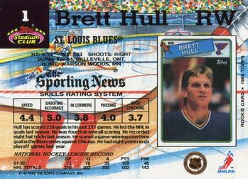 1992-93 Stadium Club #1 Brett Hull Back