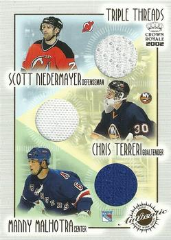 2001-02 Pacific Crown Royale - Triple Threads #13 Scott Niedermayer / Chris Terreri / Manny Malhotra Front