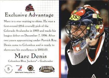 5ef65a1ac 2002-03 Pacific Exclusive - Advantage  5 Marc Denis Back