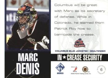 c4f7cbb6a 2002-03 Pacific Private Stock Reserve - InCrease Security  6 Marc Denis Back
