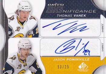 2008-09 SP Game Used - Extra SIGnificance #XSG-PV Thomas Vanek / Jason Pominville  Front