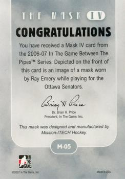 2006-07 In The Game Between The Pipes - The Mask IV Gold #M-05 Ray Emery  Back