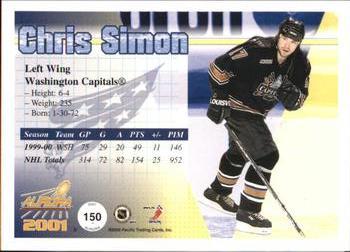 75416d02e1c 2000-01 Pacific Aurora  150 Chris Simon Back