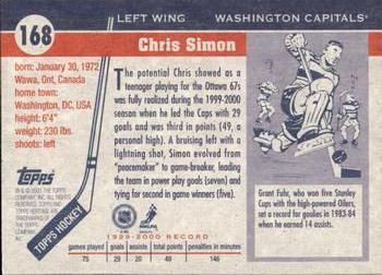 d390b227c20 2000-01 Topps Heritage  168 Chris Simon Back