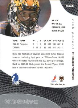 2001-02 Be a Player Between the Pipes #53 Rich Parent Back