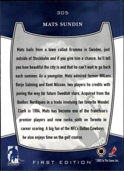 2002-03 Be a Player First Edition #305 Mats Sundin Back
