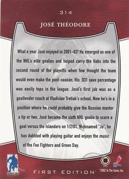 2002-03 Be a Player First Edition #314 Jose Theodore Back