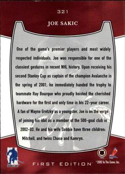 2002-03 Be a Player First Edition #321 Joe Sakic Back