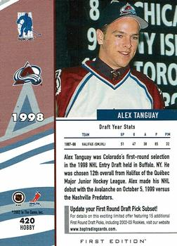2002-03 Be a Player First Edition #420H Alex Tanguay Back