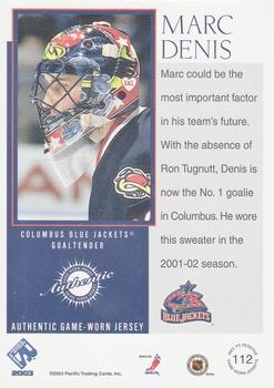 90ddeb3ae 2002-03 Pacific Private Stock Reserve  112 Marc Denis Back