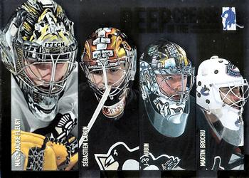 2003-04 Be a Player Memorabilia - Deep In The Crease #D15 Marc-Andre Fleury/ Sebastien Caron/ Jean-Sebastien Aubin/ Martin Brochu Front