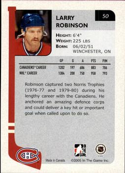 2004-05 In The Game Franchises Canadian #50 Larry Robinson Back